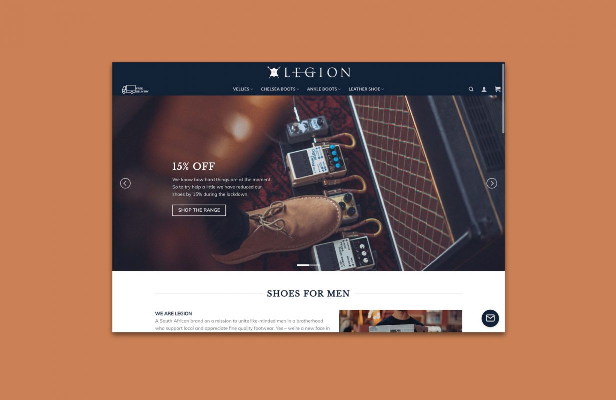 image showing homepage of Legion website