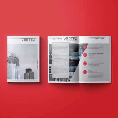 mockup showing Vetex brochure design