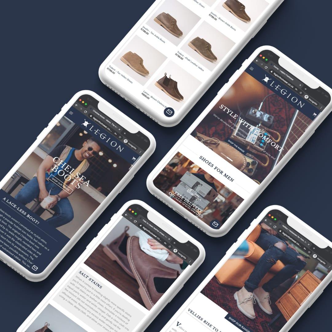 website shown on several phones